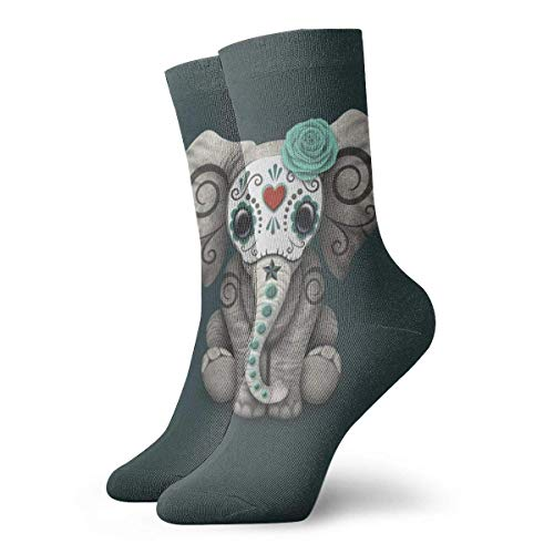 goodsale2019 Acción de gracias de Navidad El cráneo muerto del azúcar Bebé elefante 30 cm / 11,8 pulgadas Calcetines largos Calcetines deportivos de algodón para el ocio