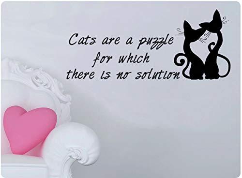 Katten zijn een puzzel voor die er geen oplossing Schattige muursticker