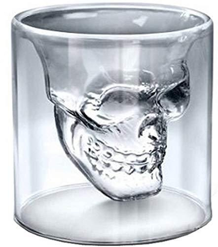 ITODA Schnapsglas Set Whiskeyglas Schädel Glas 2 Stück Cocktailglas Doppelschicht Trinkglas 75ml Likorglas 3D Totenkopf Shotglas Kristallglas Grappaglas Tequila Vodka Gin Barglas Whisky Wein Weinglas