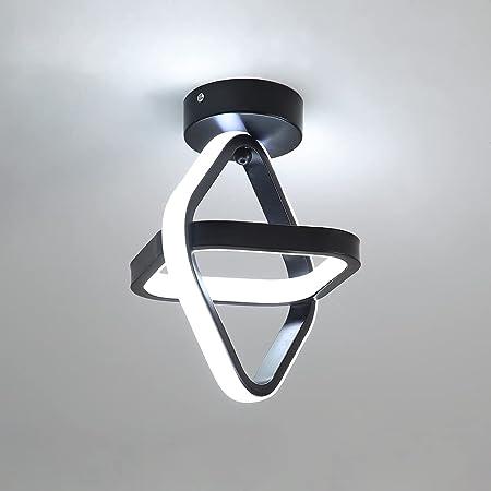 Goeco Plafonnier LED, Lampe de Lustre moderne noir Plafonnier de couloir carrée 22W pour Couloir Balcon, 4000K Lumière blanche, diamètre 22CM