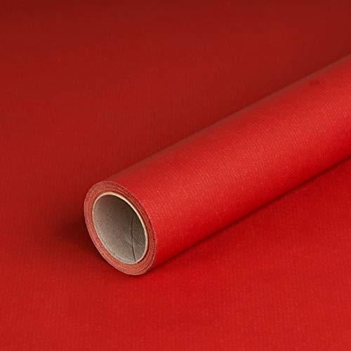 Geschenkpapier Rot, Kraftpapier, gerippt, 60 g/m², Geburtstagspapier, Weihnachtspapier - 1 Rolle 0,7 x 10 m