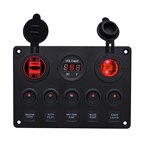 Huaji Panel de interruptor basculante impermeable Yate Car Combinación Interruptor con 5 interruptores y 2 puertos USB pantalla de voltaje para barco