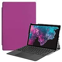 保護カバーケース カスターテクスチャホルダー&ペンスロット付き、Microsoft Surface Pro 4/5/6 12.3インチ用の水平フリップPUレザーケース タブレットPC (色 : 紫の)
