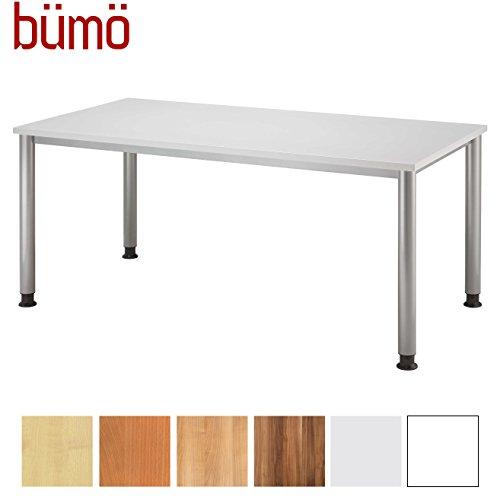 bümö® Schreibtisch höhenverstellbar | Bürotisch in 6 Farben & 8 Größen verfügbar | Büroschreibtisch Grau Rechteck: 160 x 80 cm
