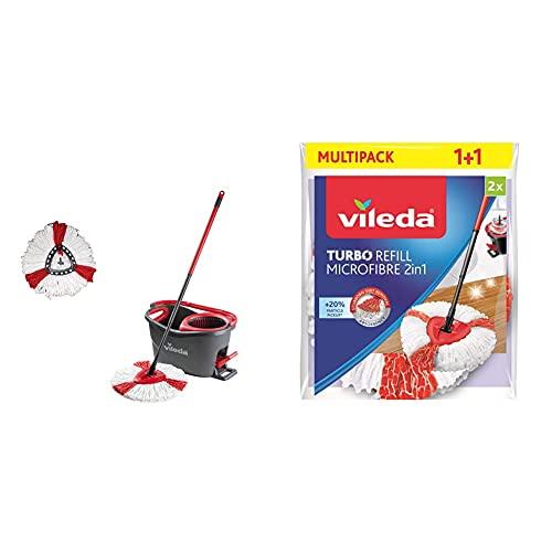 Vileda Turbo Juego de fregona con palo telescópico + Turbo Cabezal de repuesto 2 en 1 para Easy Wring & Clean Turbo, rojo/blanco, Doppelpack