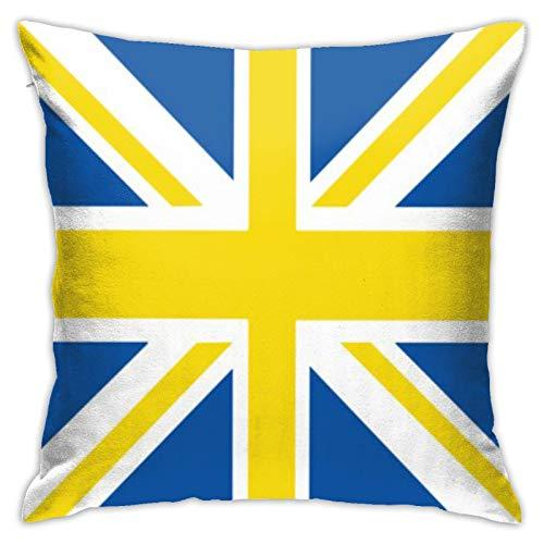 asdew987 - Federa decorativa per cuscino con bandiera inglese 'Leeds', 40 x 40 cm, colore: Blu e Bianco