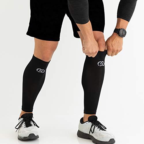 Compressions Socken mit Wadenärmeln zur Unterstützung der Schienbeinschiene für Männer und Frauen (1 Paar) Klein-Mittel Schwarz - 5