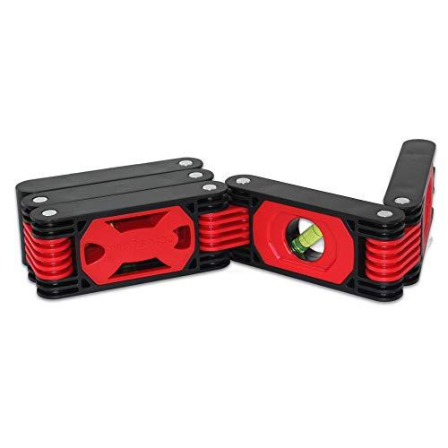Flexible Wasserwaage – 4 Libellen – 5 Magnetstreifen – voll Gelenke (ideal für Winkelarbeiten) – 60 cm – Schwarz & Rot