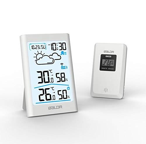 SLMY Thermometer Digitaal, Elektronische Hygrometer Draadloos/Weer Station en Vochtigheid Monitor met LCD-scherm en gezicht pictogrammen