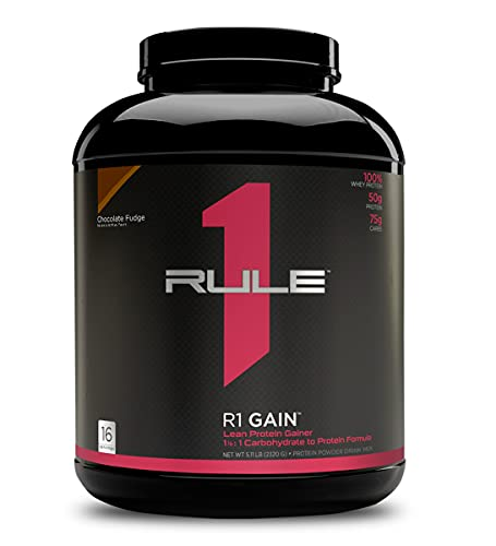 Rule One Proteins, R1 Gain - Chocolate Fudge, High-Protein Lean Gain Formula with 50g All-Whey Protein (Primarily Isolate), Over 500 Calories, 75g Carbs, Under 6g of Fat, 5 Pounds, 16 Servings