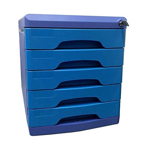 Archivadores Oficina de Datos con Llave gaveta de Almacenamiento confidencialidad Organizador de Escritorio del Archivo de Anti-Off Hebilla de plástico PP - 27x36x31cm Caja de Archivo (Color : Blue)