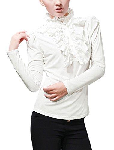 Allegra K Women Ruffle Neck Blouse Half Placket Stand Collar Puff Sleeve Shirts, X-Small / US 2, White