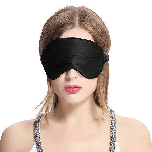 LilySilk Schlafmaske Damen Herren 100{8f2ebe321134077cef6923ac2a1c30de37c8ea978daea17877767946b1ac5138} Seide Hautfreundlich für Allergiker | Perfekt Sitz | Schlafbrille Augenmaske Nachtmaske - Schwarz 1 Stk