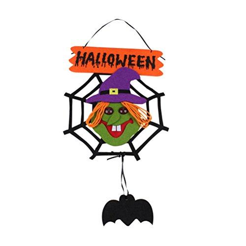 Tinksky Panneau Murale de Halloween Assomption de Suspension Signe de Bienvenue Décoration Non-tissé Pendentif Spider Web Sorcière Party Party