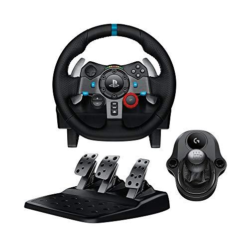 Logitech G29 Driving Force Volant de Course avec Levier de Vitesse Pédales, Retour de Force Réaliste, Palettes au Volant en Acier Inoxydable, Rotation du Volant à 900°, Prise EU, PS4/PS3/PC - Noir