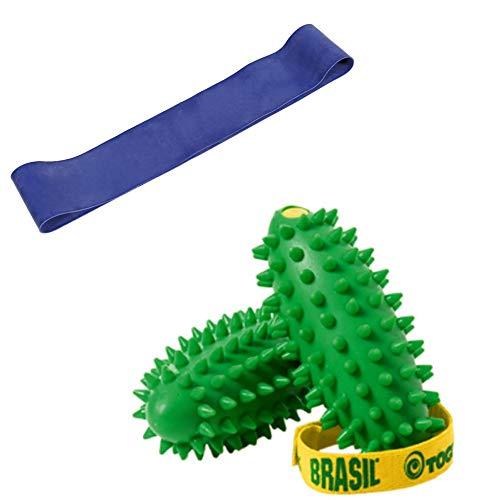 Togu Brasil 2er Set Handtrainer, im Set mit Theragym Loop Miniband stark, blau