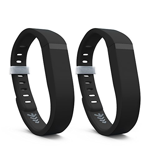 Teak - Silicone Sport Band Replacement for Fitbit Flex - Small, Black 2 Pack