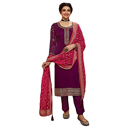 Satin Georgette Salwar Kameez Plazzo Pant Suits Sewn Pakistani Kameez Shalwar Dress with Dupatta (Choice 3, 18 US 4XL (Chest-50 Waist-46))