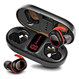 bakibo Wireless Earphones Bluetooth 5.1, Sport in-Ear Headphones Ipx7 Headset with Mic Auto Pairing TWS Stereo Earbuds with 800mAh LCD Charging Case, 40H Playtime, Touch Control, for Gym Running