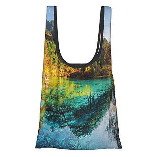 Landscape Colorful View Of Five Flower Lake With Azure Water Among Fall Woods In Jiuzhaigou Multicolor Reusable Grocery Bags, Eco-Friendly Folding Tote Shopping Bag Fits In Pocket