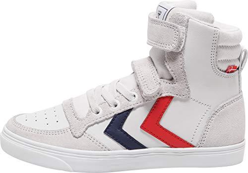 hummel Slimmer Stadil Leather High Jr, Sneaker a Collo Alto Unisex-Bambini, Bianco (White 9001), 30 EU