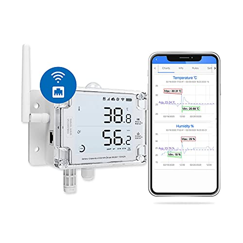 Ubibot GS1-AETH1RS Ethernet Thermometer Hygrometer, WiFi Temperature Humidity Sensor, Digital Temperature Data Logger, Free App Email Alert(2.4GHz WiFi & RJ45 Ethernet, no hub Required)