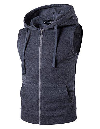 YCHENG Herren Sport Freizeit Kapuzensweatshirt mit Reißverschluss Ärmellos Shirts Weste, Grau, XXL