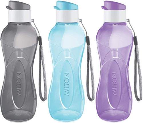 MILTON Water Bottle Kids Reusable Leakproof 12 Oz Plastic Wide Mouth Large Big Drink Bottle BPA & Leak Free with Handle Strap Carrier for Cycling Camping Hiking Gym Yoga - Pastel Colors 3 Pack