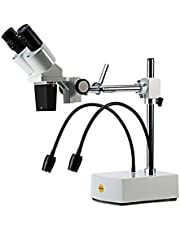 SWIFT Microscopio estéreo binocular SS41,grado profesional, ampliación de 10X, 20X, oculares de campo amplio de 10X y 20X, 2 luces LED flexibles y cámaras-compatibilidad (ENCHUFE UK)