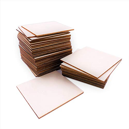 Unfinished Wood Pieces 50 Pcs 4 Inch Wood Squares Pieces Square Blank Natural Wood Slices Wooden Squares Cutout Tiles for DIY Crafts Home Decoration Painting Staining Unfinished Wood Cup Coasters