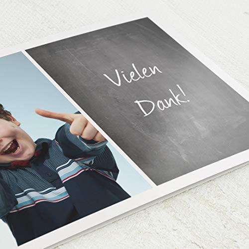 sendmoments Danksagungskarten Einschulung, Tafeloptik, 5er Klappkarten-Set C6 Querformat, personalisiert mit Wunschtext & persönlichen Bildern, optional mit passenden Design-Umschlägen
