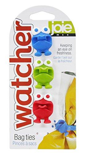 Joie 49505 Ties Tüten-Verschlussbänder Bag Watcher 3er Set, Kunststoff, Bunt