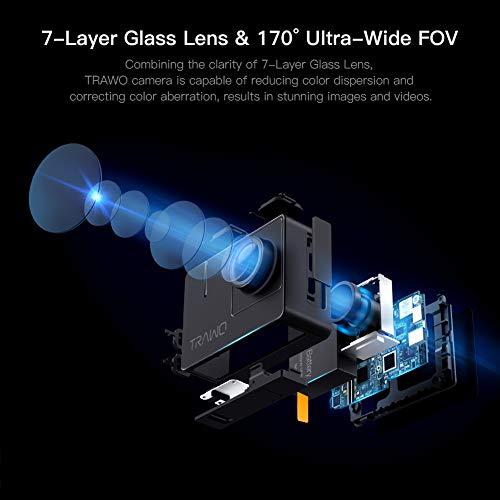 APEMAN A100 Action Cam 4K/30fps UHD WiFi 20MP Unterwasserkamera 40M wasserdichte Camcorder (Extreme EIS Videostablisierung, IPS-Bildschirm, 2x1350mAh Batterien) - 3