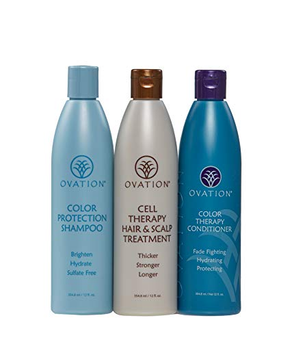 Ovation Color Protection Cell Therapy System - Get Stronger & Healthier Looking Hair with Natural Ingredients - Cell Therapy Treatment, Color Treatment Shampoo & Conditioner - Made in the USA