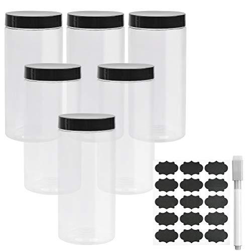 DODUOS Vorratsgläser Einmachgläser Set mit Deckel 6 Stück - Aufbewahrungsdose 850 ml Vorratsdosen Kunststoff - Einkochgläser Klein mit Etiketten zum Aufkleben und Stift Frischhaltedosen