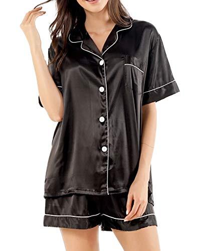 GAESHOW - Set pigiama da donna in raso effetto seta, a maniche corte, con abbottonatura, abbigliamento per relax, completo composto da due pezzi, S-2XL Nero L