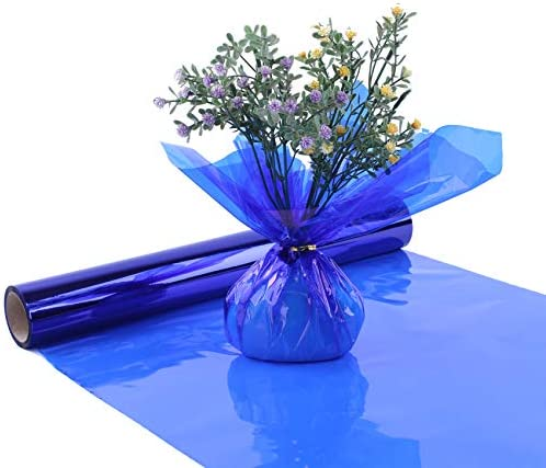 Blue Cellophane Wrap Roll Translucent Blue Cellophane Wrapping Paper 16 Inch Width x 100 Ft product image