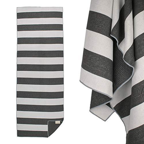 Yogabum Coastal Collection Grip DOT Yoga Towel (Black Stripe)