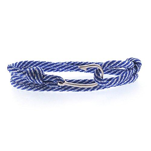 Sovats Herren Angelhaken mit Seil Armband 925 Sterlingsilber