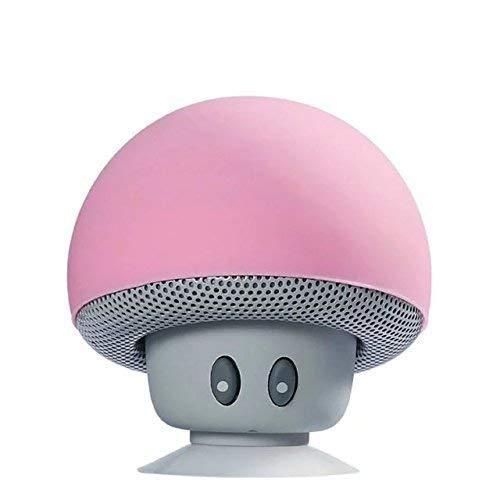 Altavoz Bluetooth portátil,Altavoz de Hongos,Bluetooth V2.1 con Ventosa,Compatible con iPad, iPhone, teléfonos Android,computadora portátil (Rosa)