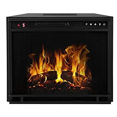 "Regal Flame 28"" Flat Pebble, Crystal, Log Ventless Heater Electric Fireplace Insert, Black Frame - 3 Color Changing Settings"