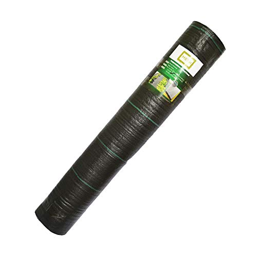 The Mesh Company Heavy Duty 100GSM Weed Control Landscape Fabric 1m & 2m Wide Rolls Woven Cover Sheet (1m x 100m Roll)
