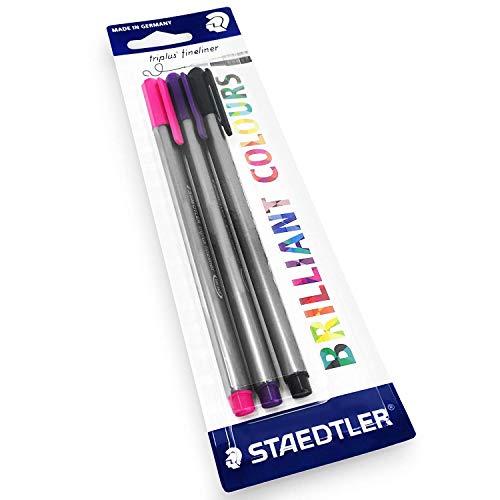 Staedtler Triplus Fineliner Pens � 0.3mm � Dry Safe � Blister Pack of 3 � Black, Pink and Purple