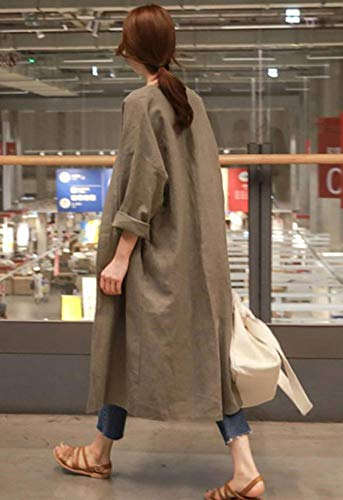 『XIEBAIJIU アウター 秋 ロング丈 春 長袖 シンプル ロング 無地 ファッション S ~ XL レディース (カーキ, S)』の1枚目の画像