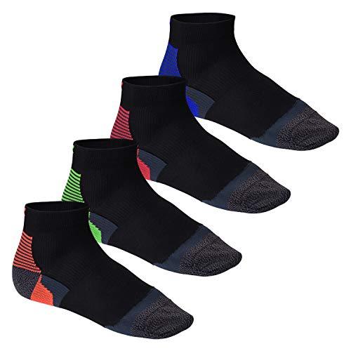 CFLEX Herren & Damen Laufsocken (4 Paar), Kurzschaft Socke mit Anti-Blasen-Funktion, Vierfarb-Mix 39-42