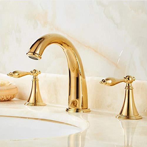 rubinetto lavabo tre fori, ottonato, rubinetto bagno oro, tre fori miscelatore calda e fredda, tipo split doppio pomello, rubinetti bagno lavabo, Ein