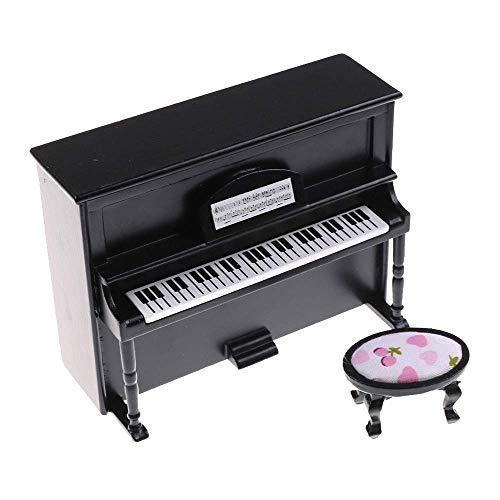 CuteExpress Miniature Piano Model 1/12 Scale Dollhouse Musical Instrument Ornaments Gift Mini Decoration Furniture Accessories (Black)