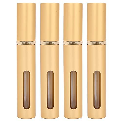 Botella de perfume recargable de 10ml x 4pcs, envase vacío portátil al aire libre de la botella del espray(dorado)