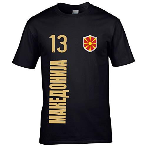 FanShirts4u Herren Fan-Shirt Jersey Trikot - MAZEDONIEN/MAKEDOIJA - T-Shirt inkl. Druck Wunschname & Nummer WM EM (XL, MAKEDOIJA/schwarz)