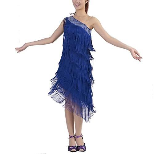 Vestido De Baile De Color Liso Clásico para Mujer hasta La Rodilla Sin Mangas Fuera del Hombro Vestido Midi Slim Fit Básico Borlas Moda De Baile Vestidos De Rendimiento Simple